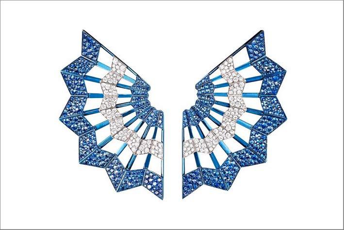Orecchini Dragonfly in titanio, zaffiri blu e diamanti