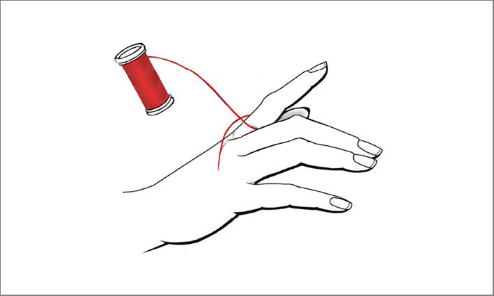 Utilizzate un filo per misurare la circonferenza del dito. Ma non lasciate il filo troppo largo né stretto