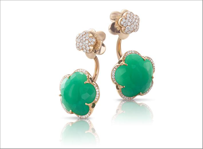 Collezione Bon Ton, orecchini in oro rosa, diamanti e crisoprasio