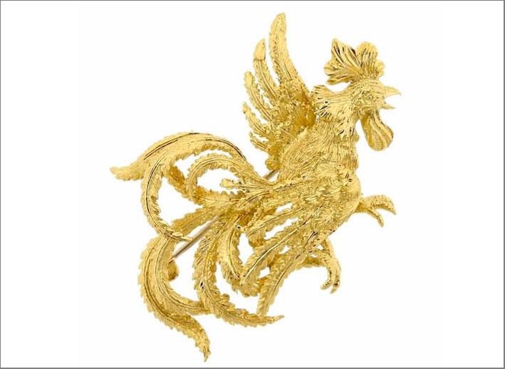 Buccellati, spilla gallo in oro. Prezzo: 3045 dollari su 1stbis