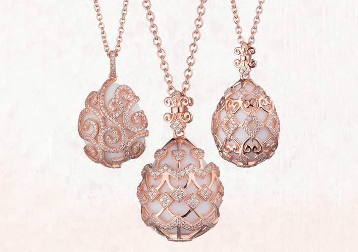 Pendenti in argento placcato oro rosa