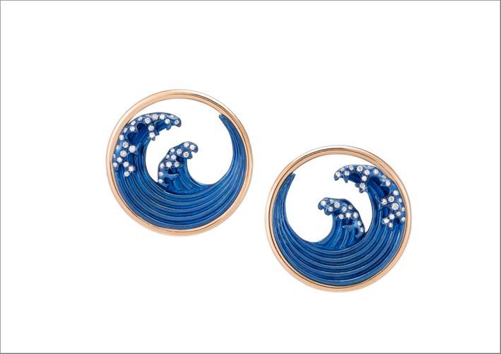Orecchini Hokusai in titanio blu, oro rosa, diamanti