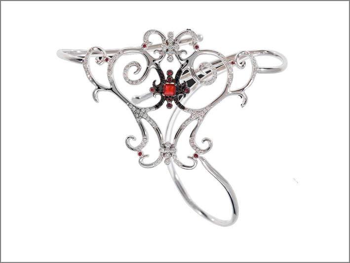 Bracciale Amanée con rubini, diamanti bianchi e neri