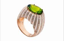 Vennari, anello in oro rosa con peridoto, diamanti e smalto