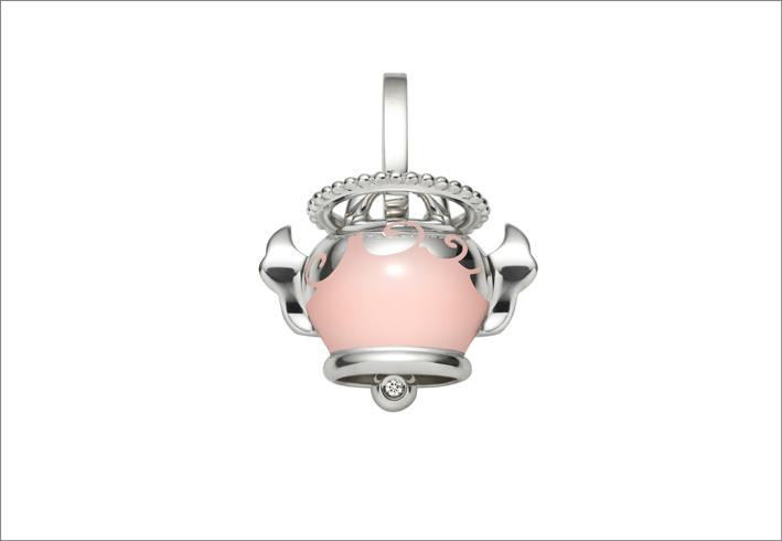 Ciondolo in argento e smalto rosa
