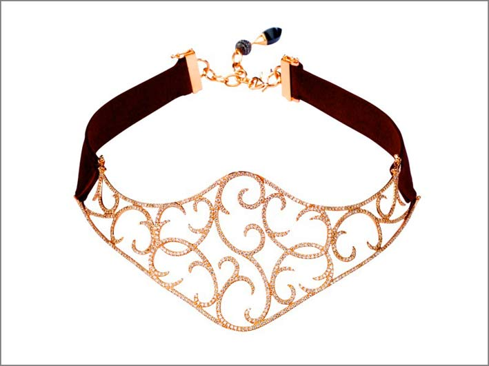 Choker Jaipur in oro rosa, diamanti