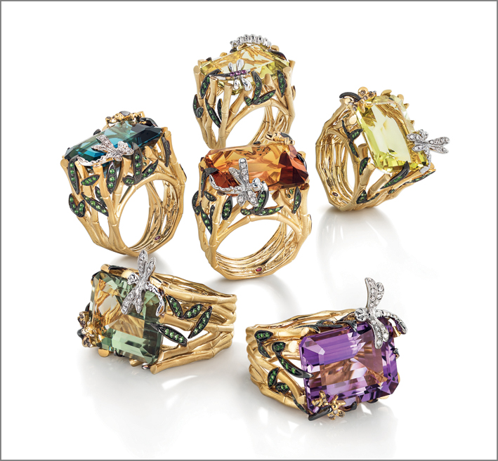 Rings in satin yellow gold with Blue topaz, prasiolite, amethyst, lemon and honey quartz, as center stones. Brown and white diamonds, green garnet, yellow sapphires in the decorative components