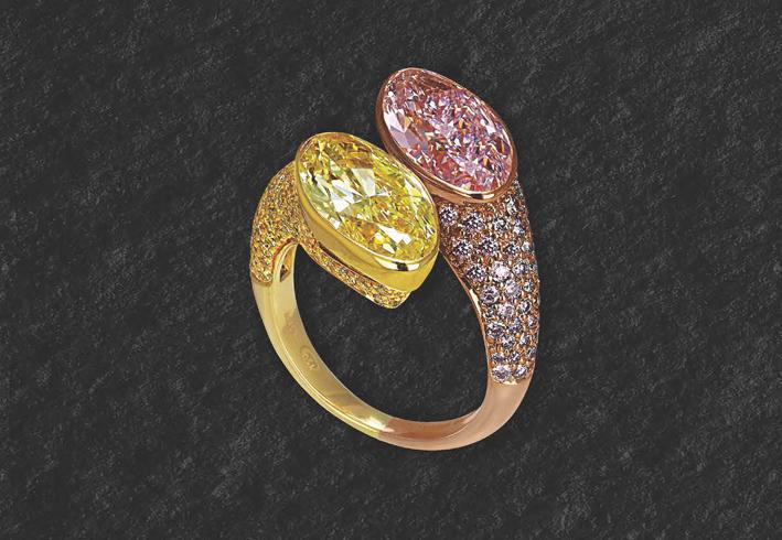 Anello Moi et Toi con diamanti gialli e rosa