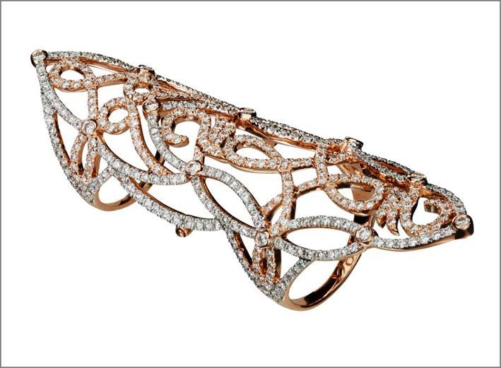 Anello Lasya doppio in oro e diamanti