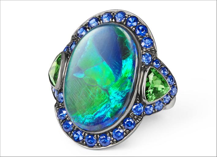 Anello con opale e tsavoriti