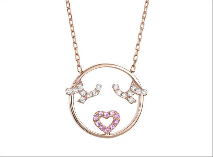 Pendente in oro rosa, zaffiri rosa, diamanti