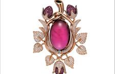 Frank Wu, spilla con rubellite, diamanti, oro rosa