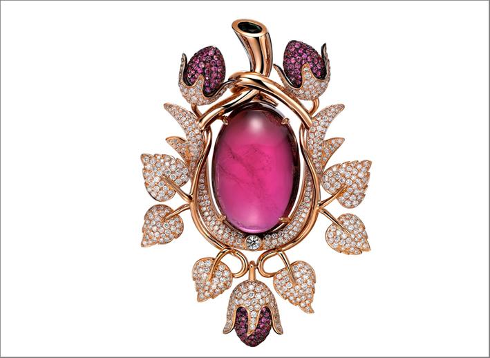 Spilla con rubellite, diamanti, oro rosa
