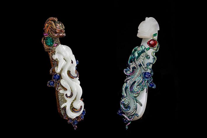 A tale of two dragons, spille. Periodo Qianlong (1736-1795) bianco, gancio Jade Dragon cintura, smeraldo, rubino, zaffiro, zaffiri rosa e diamanti fancy