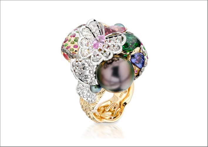 Moiseikin, anello con gemme e perla di Tahiti
