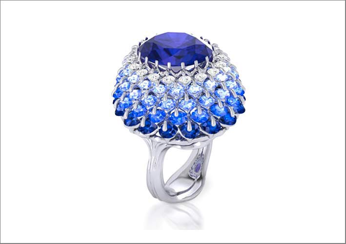 Anello con diamanti e tanzanite