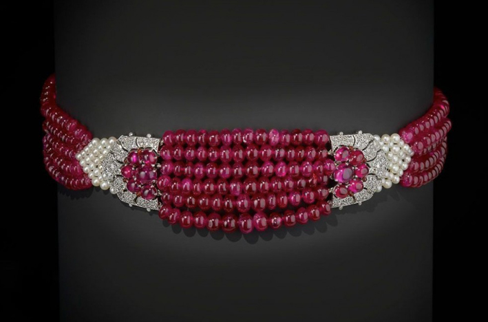 Collana di rubini  e diamanti