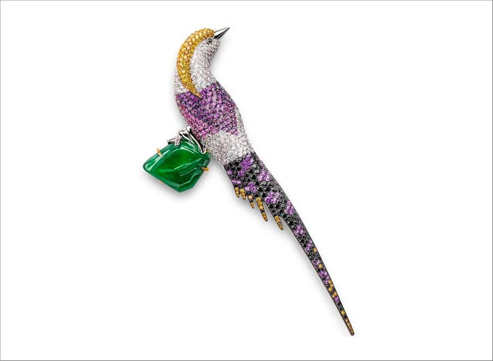 Spilla a forma di fagiano con diamanti, zaffiri, giada
