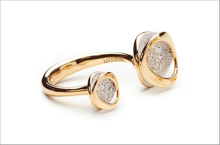 Anello doppio, oro, diamanti