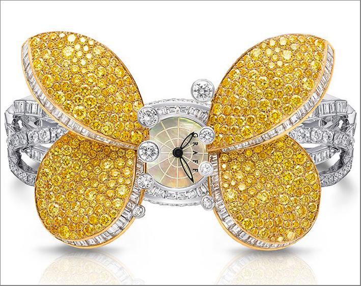 Orologio Princess Butterflu, in diamanti e zaffiri gialli