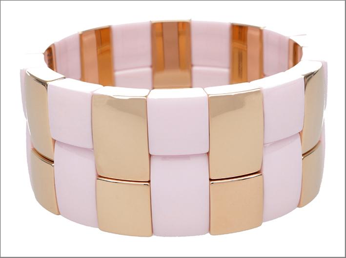 Bracciale in ceramica rosa e oro rosa