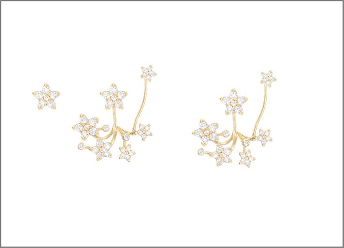 Collezione Shooting Stars, orecchini in oro e diamanti