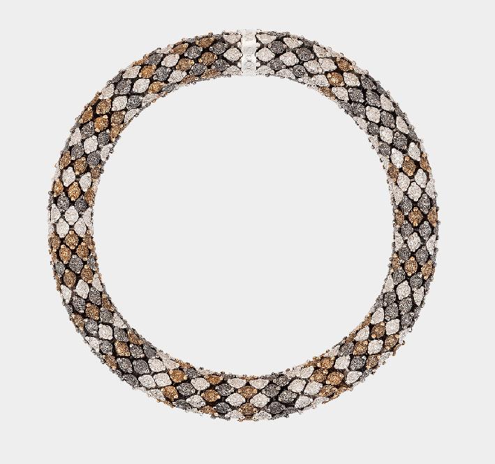 Bracciale in oro bianco, diamanti brown, grigi e bianchi