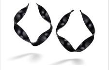 Orecchini Hello It's me, in alluminio nero con 330 piccoli diamanti