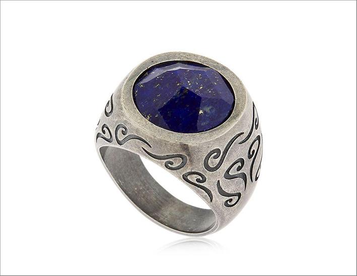 Marco Dal Maso, anello chevalier in argento con lapislazzulo