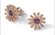 Orecchini in oro rosa, diamanti champagne e ametiste