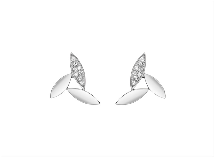 Collezione Leaf, orecchini in oro bianco e diamanti