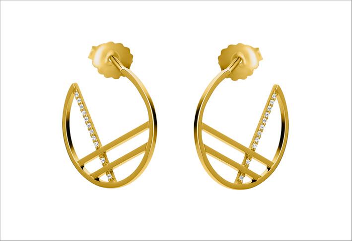 Collezione Lisbon, orecchini in oro giallo e diamanti