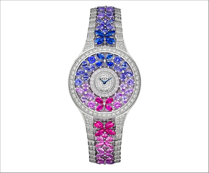 Graff, orologio bracciale con diamanti e zaffiri multicolori