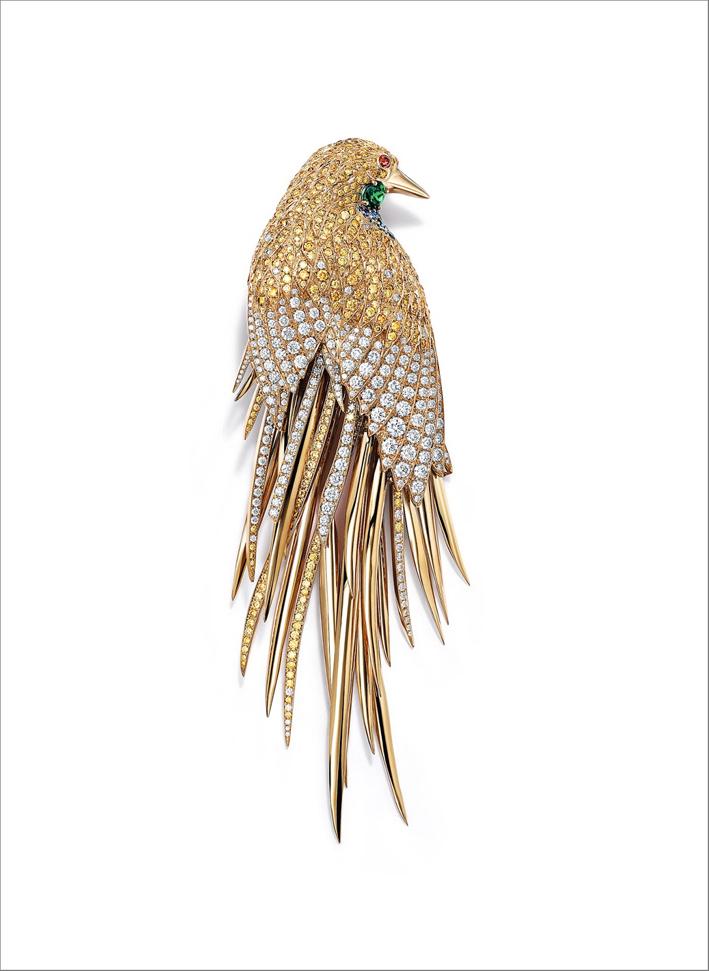 Spilla a forma di uccello, in oro e diamanti