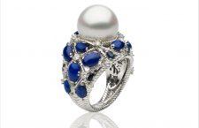 Anello Tiberio con perla South Sea, zaffiri e lapislazzuli