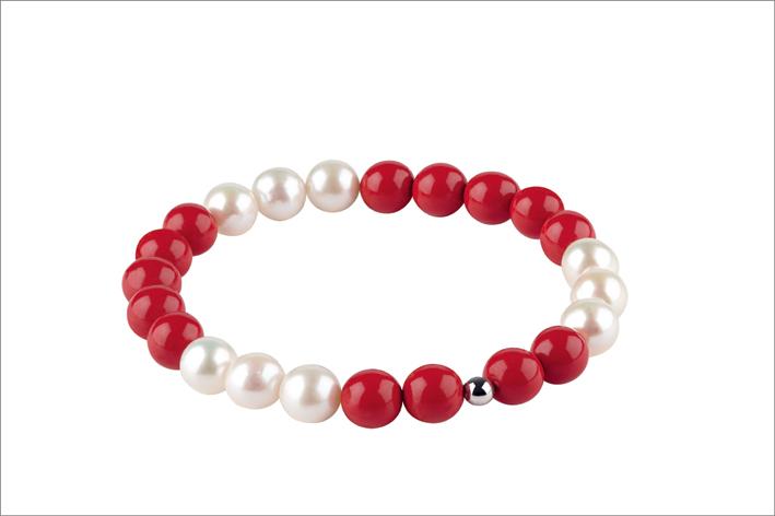 Bliss, bracciale con perle e pasta di corallo