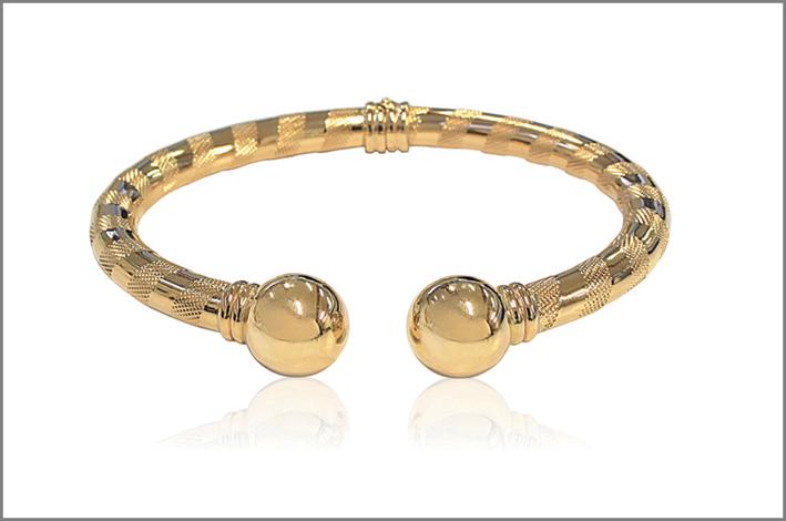 Bracciale rigido  con sfere in oro giallo