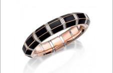 Picchiotti, bracciale in oro rosa con diamanti e onice