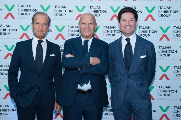 Lo stato maggiore di Itaiian exhibition Group. Da sinistra, Corrado Facco (direttore generale), Lorenzo Cagnoni (presidente), Matteo Marzotto (vicepresidente)