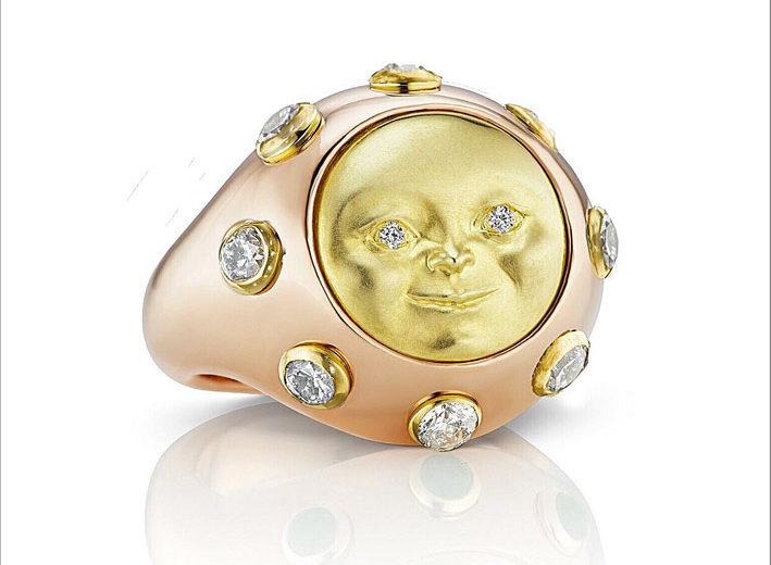 Anello con luna piena in oro giallo e rosa, diamanti