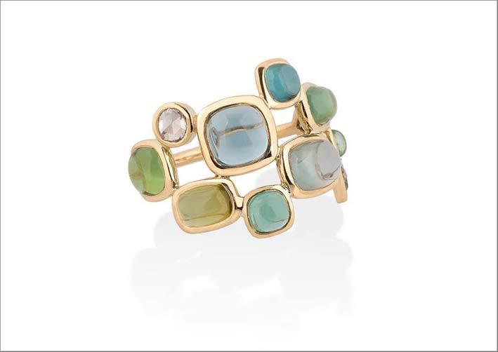 Anello Rainy Blues, in oro, tormaline e diamanti