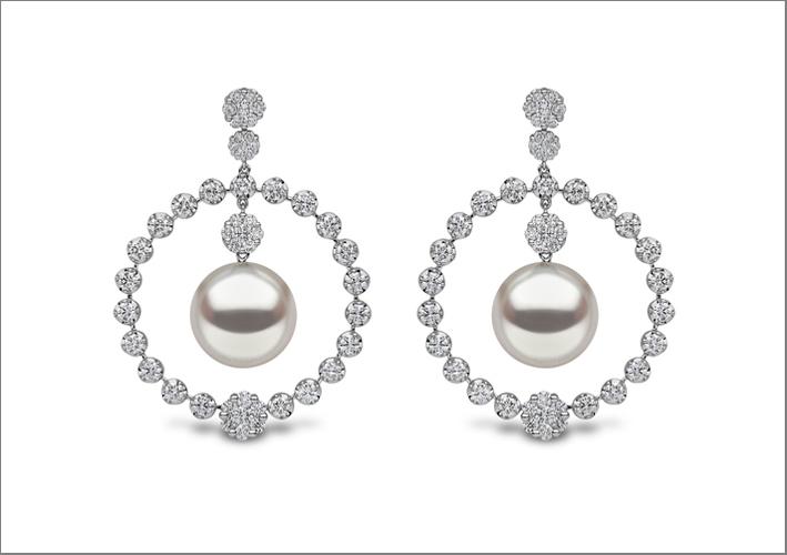 Orecchini con perle South Sea e diamanti