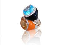 Collezione Venus, anelli in oro, smalto, citrino e topazio, diamanti
