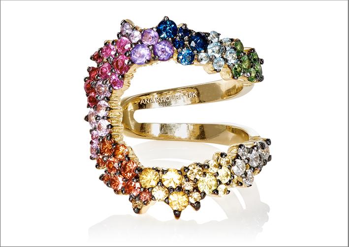 Anello Mirian, in oro giallo con diamanti bianchi, zaffiri multicolori e tormaline