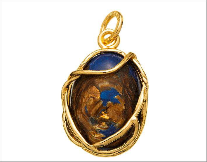 Ciondolo della collezione Blue Note, in argento dorato e lapislazzulo