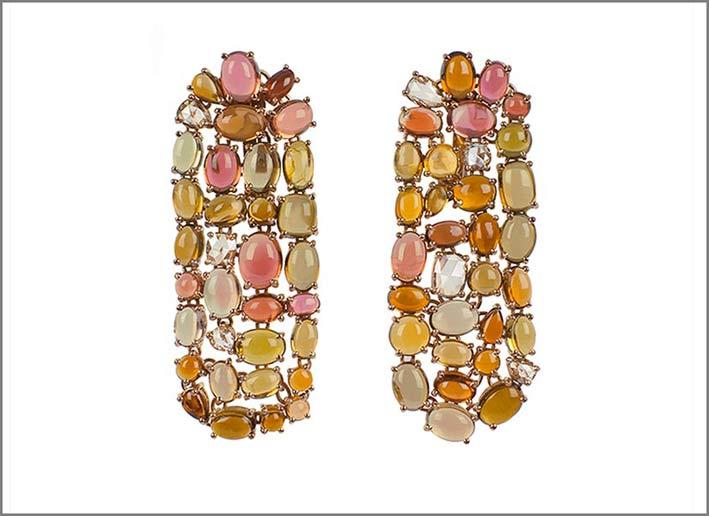 Orecchini con tormaline e diamanti