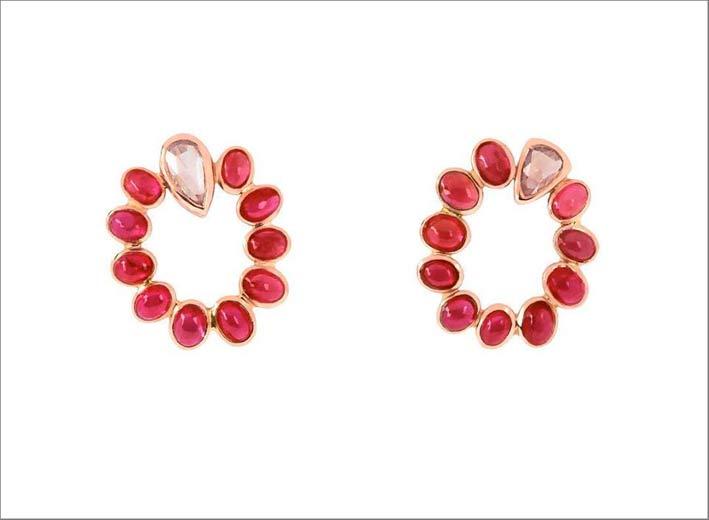 Orecchini con tormaline, rubini e diamanti