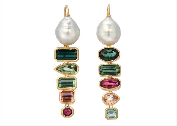 Orecchini Gypsies, in oro, perle barocche e tormaline