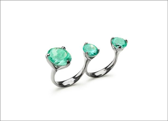 Anelli Troi et Moi in oro rodiato e smeraldi