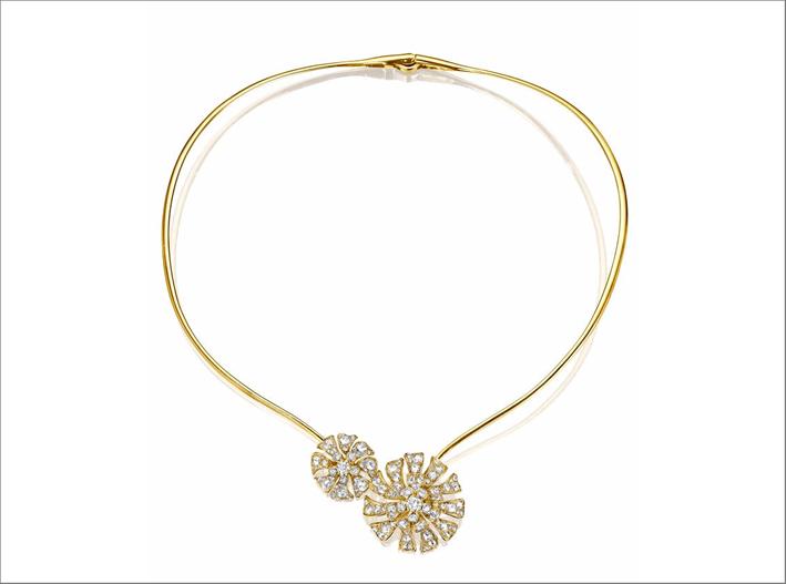 Aster Double Bloom Collar, in oro giallo e diamanti